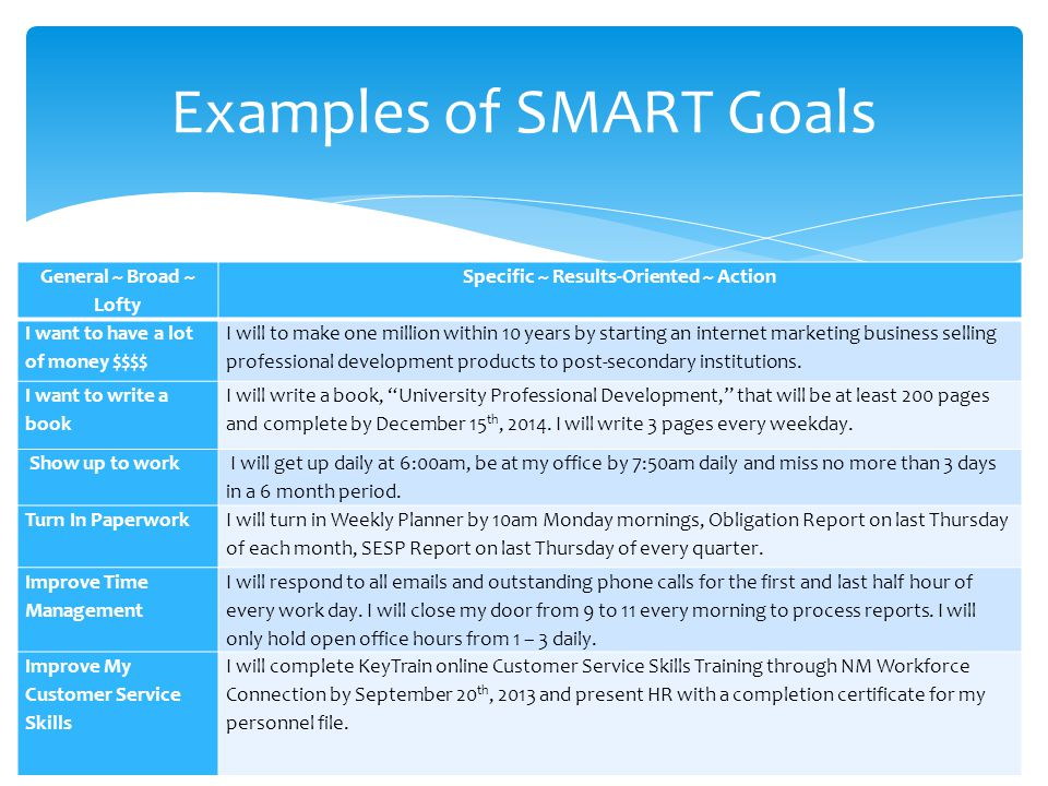 smart goals examples for students pdf