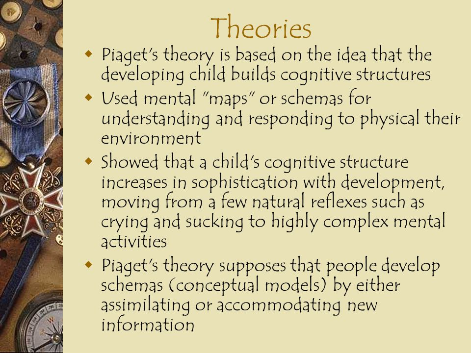 Theories Piaget s theory is based on the idea that the developing child builds cognitive structures.