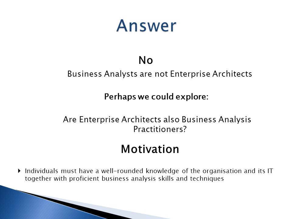 Are business analysts enterprise architects ppt video for Enterprise architect skills