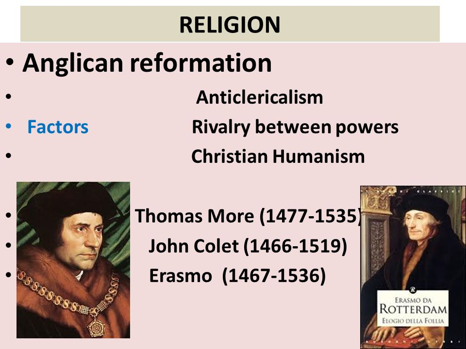 Anglican reformation RELIGION Anticlericalism