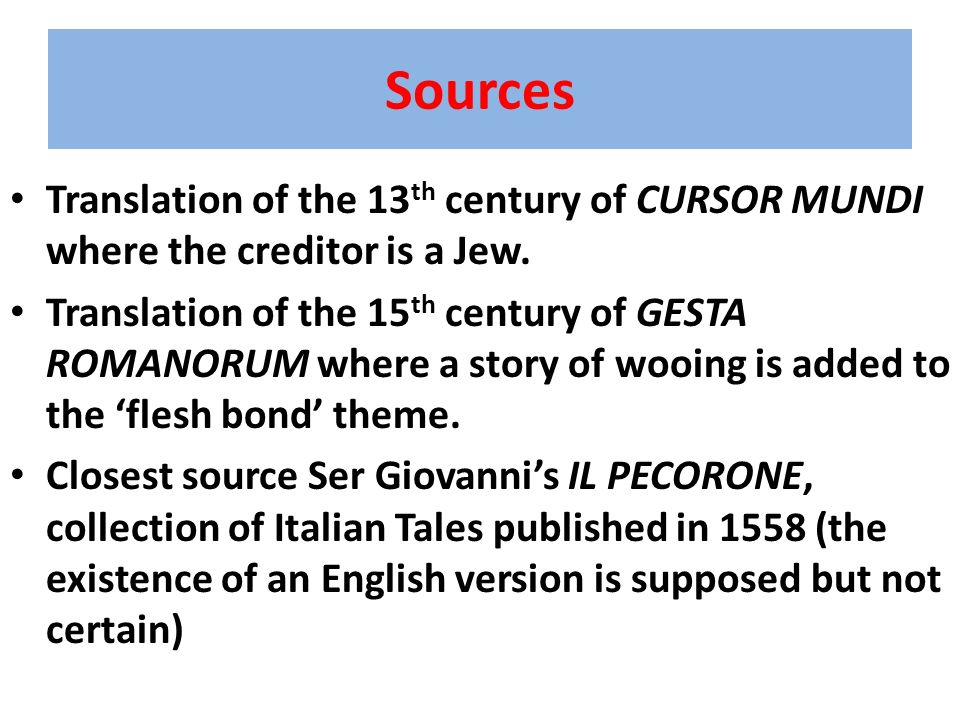 Sources Translation of the 13th century of CURSOR MUNDI where the creditor is a Jew.
