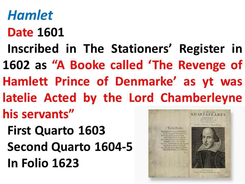 Hamlet Date 1601.