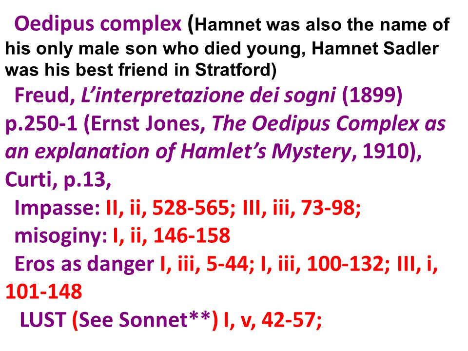 Oedipus complex (Hamnet was also the name of his only male son who died young, Hamnet Sadler was his best friend in Stratford)