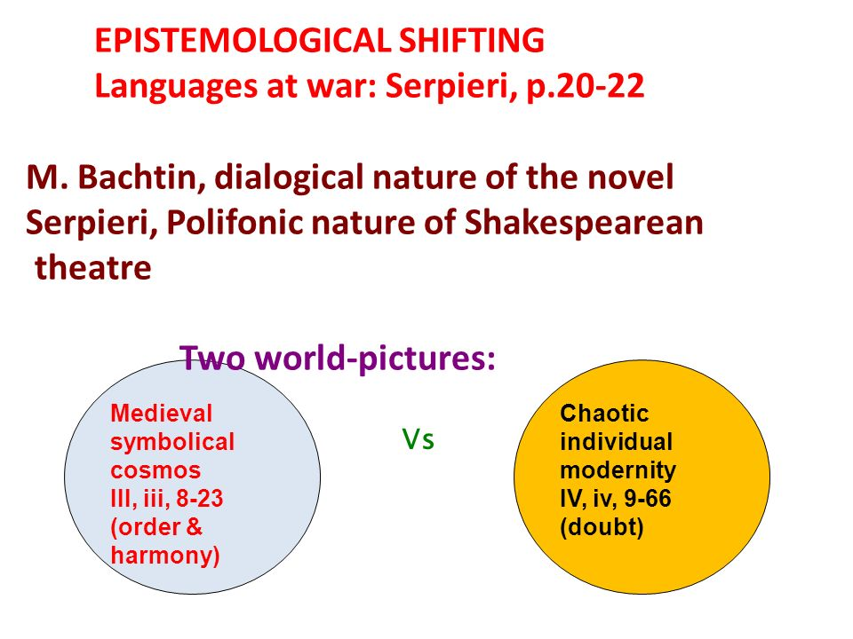 EPISTEMOLOGICAL SHIFTING Languages at war: Serpieri, p.20-22