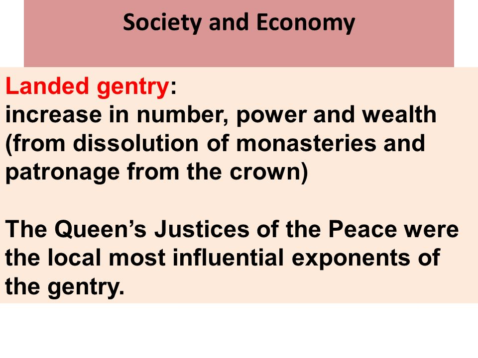 Society and Economy Landed gentry:
