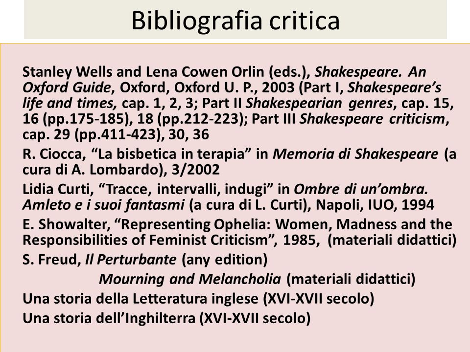 Bibliografia critica