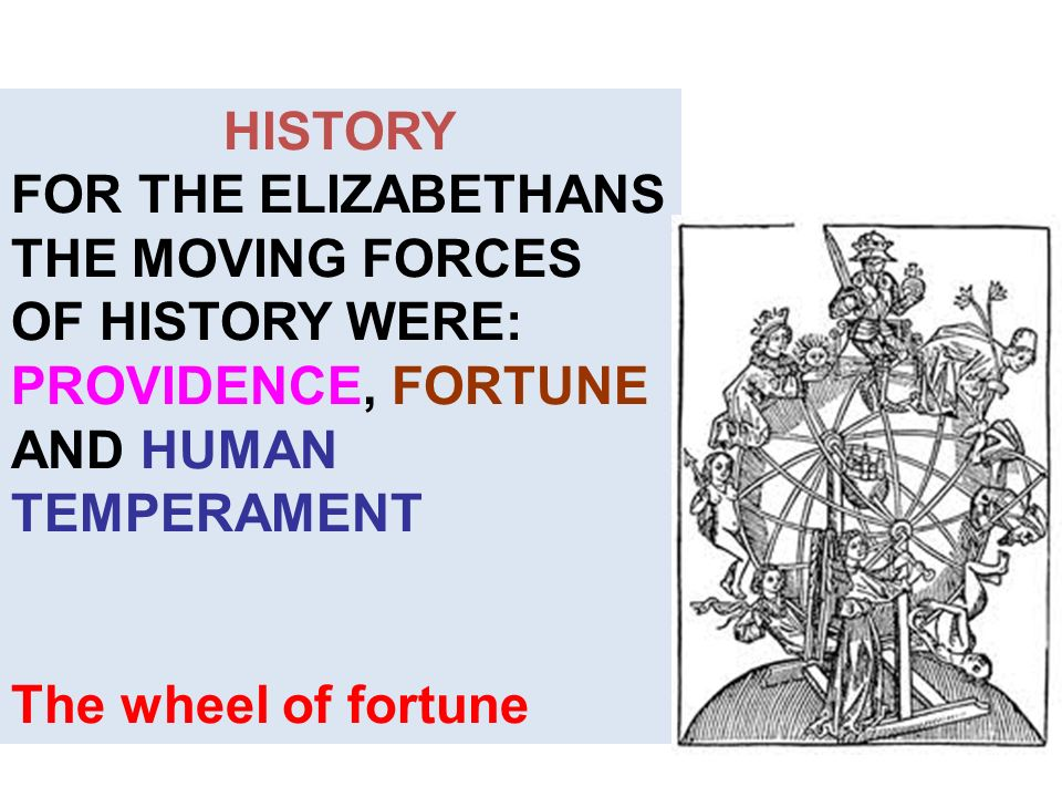 HISTORY FOR THE ELIZABETHANS THE MOVING FORCES OF HISTORY WERE: PROVIDENCE, FORTUNE AND HUMAN TEMPERAMENT.