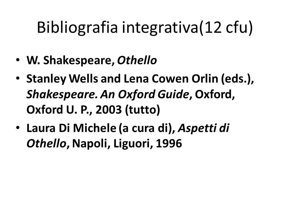 Bibliografia integrativa(12 cfu)