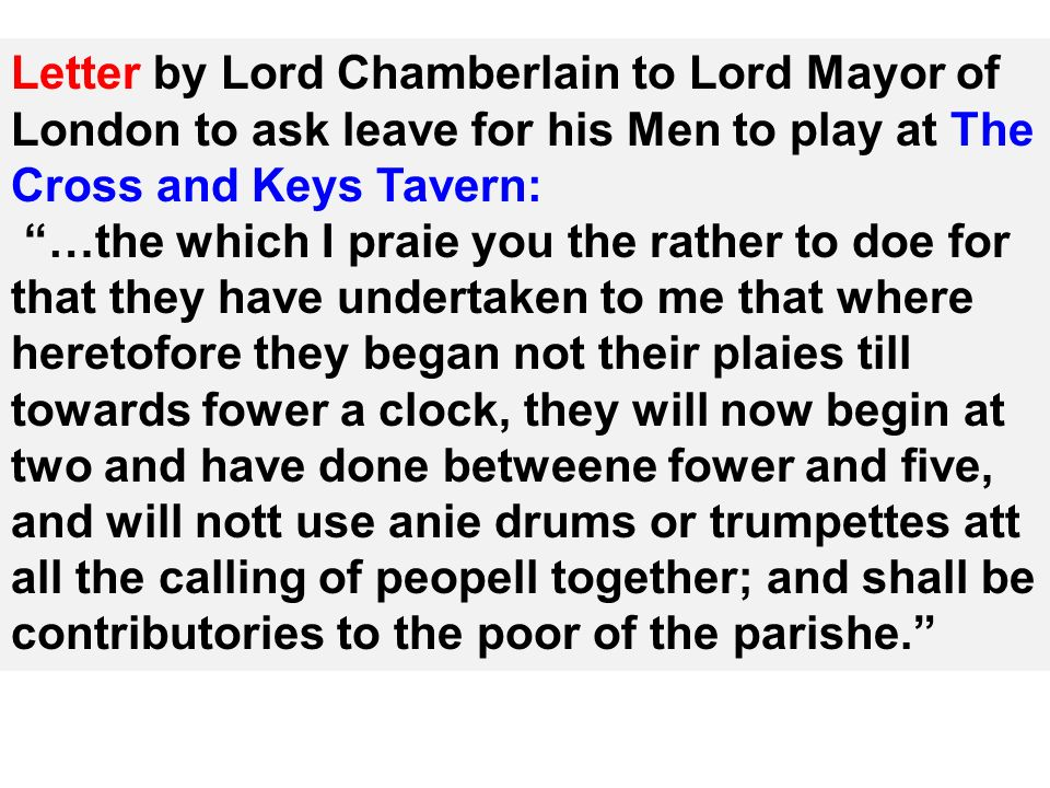 Letter by Lord Chamberlain to Lord Mayor of London to ask leave for his Men to play at The Cross and Keys Tavern: