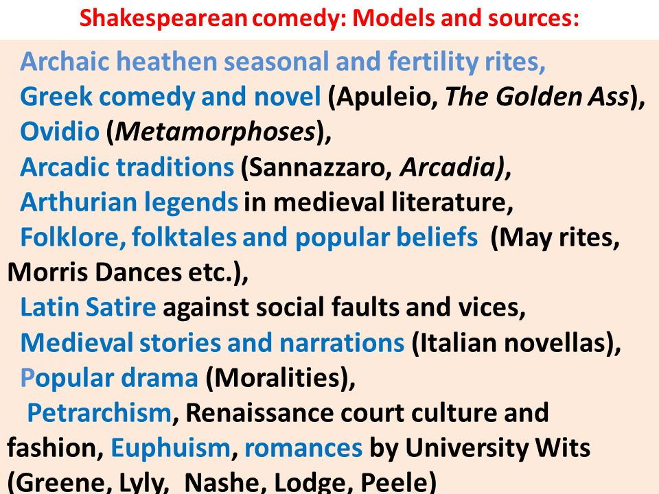 Shakespearean comedy: Models and sources: