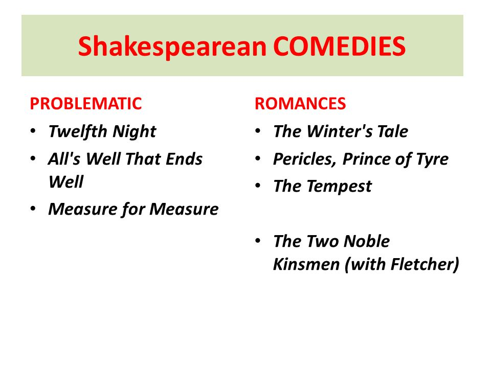 Shakespearean COMEDIES
