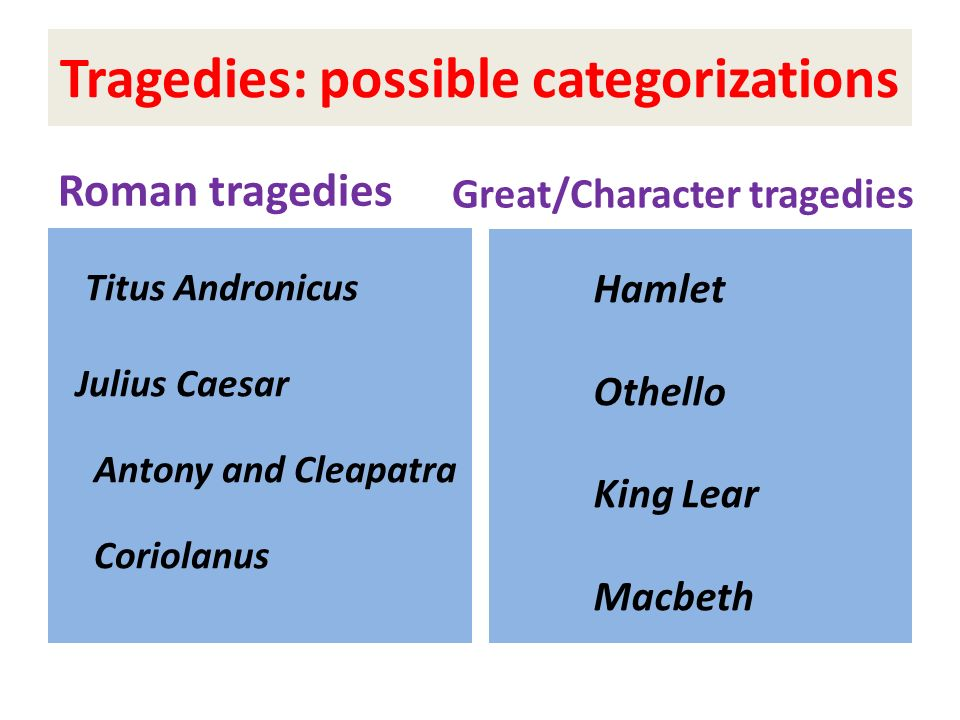 Tragedies: possible categorizations