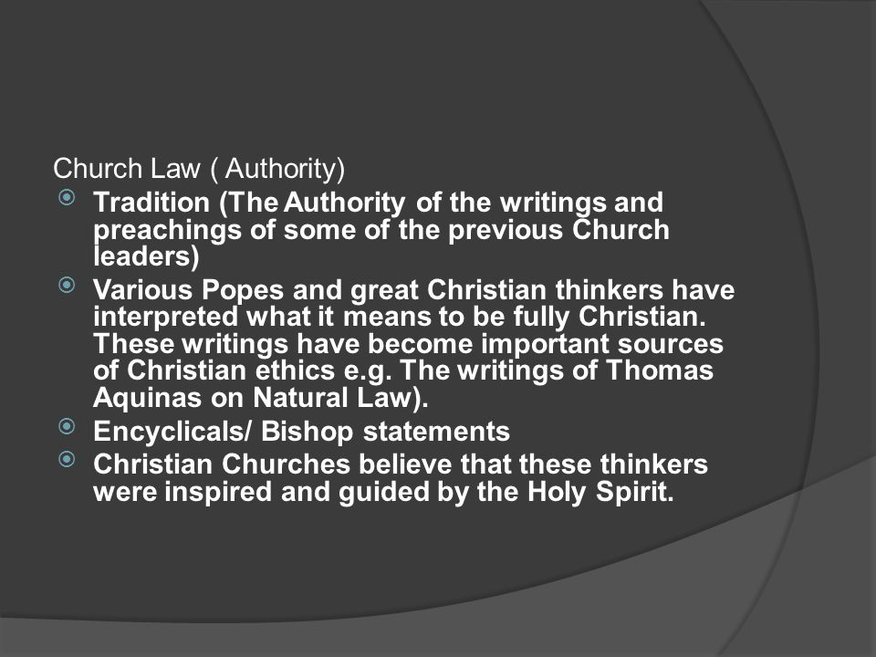 Church Law ( Authority)