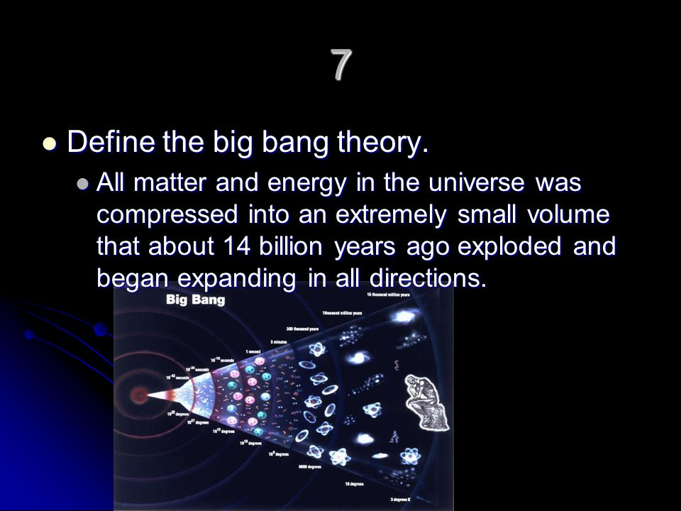 define big bang nucleosynthesis Big bang theory n a scientific theory describing the origin of all space, time, matter, and energy approximately 137 billion years ago from the violent expansion of.