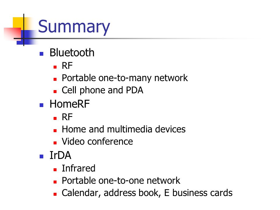 A Comparison of Bluetooth and competing technologies - ppt download