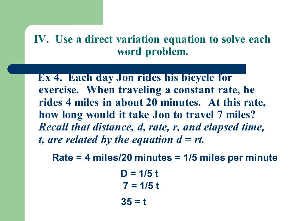 Direct Variation Worksheets