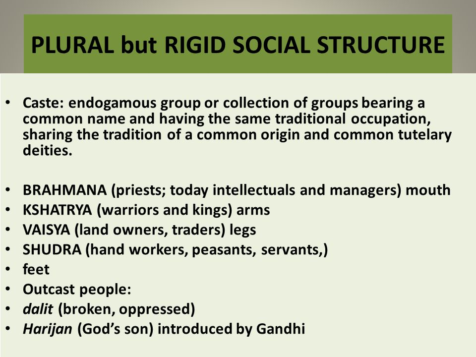 PLURAL but RIGID SOCIAL STRUCTURE