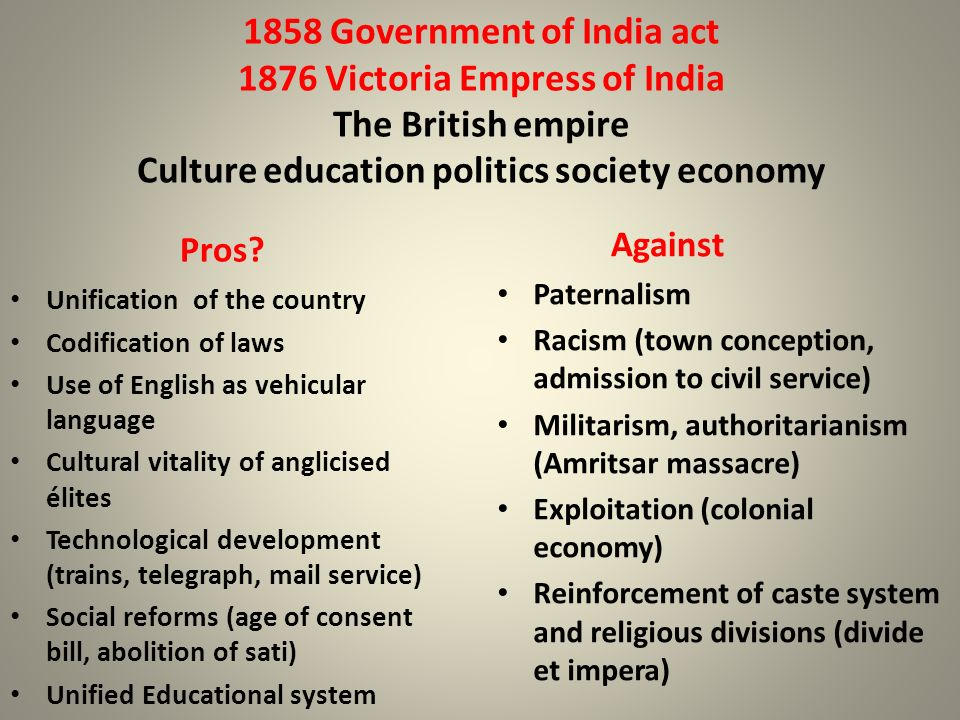 1858 Government of India act 1876 Victoria Empress of India The British empire Culture education politics society economy