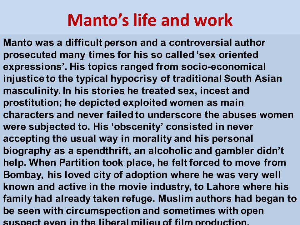 Manto's life and work