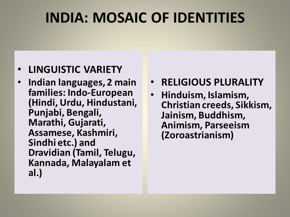 INDIA: MOSAIC OF IDENTITIES