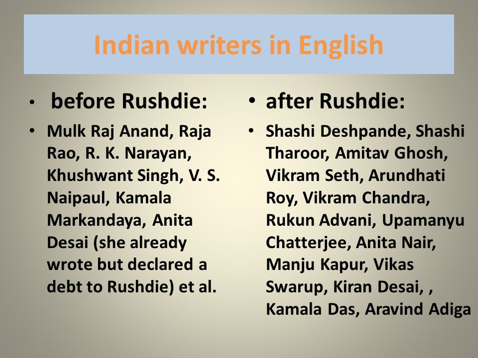 Indian writers in English
