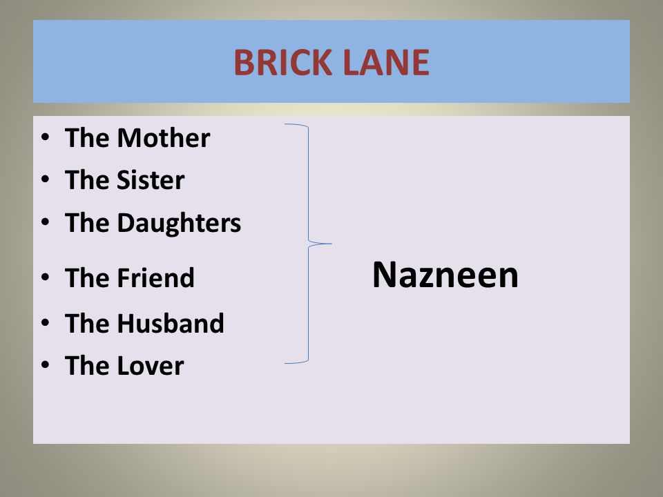 BRICK LANE The Mother The Sister The Daughters The Friend Nazneen