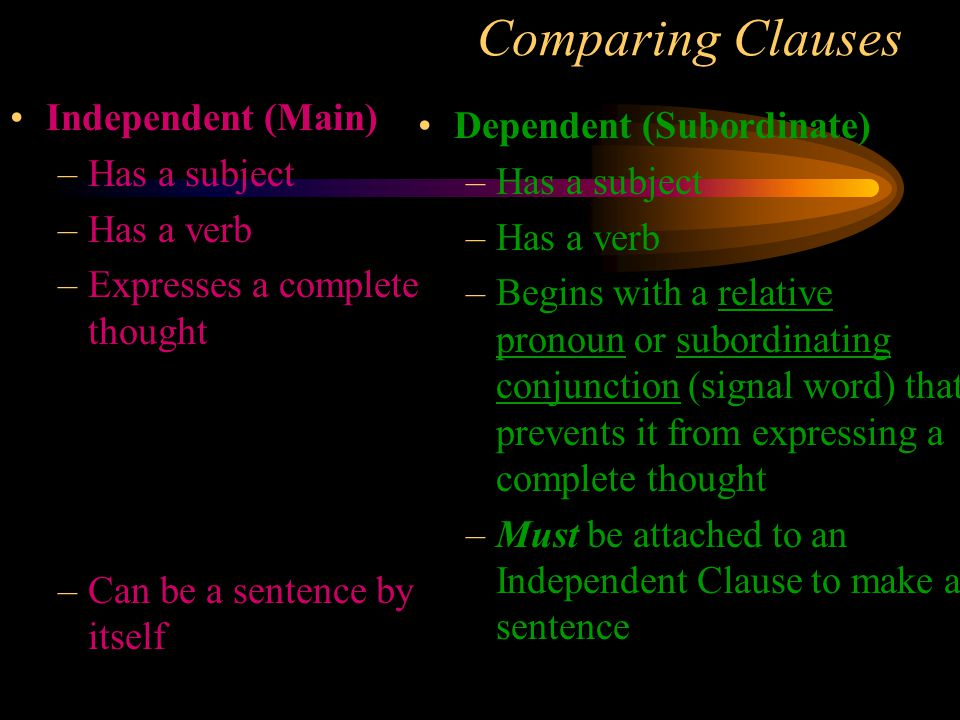 Comparing Clauses Independent (Main) Dependent (Subordinate)