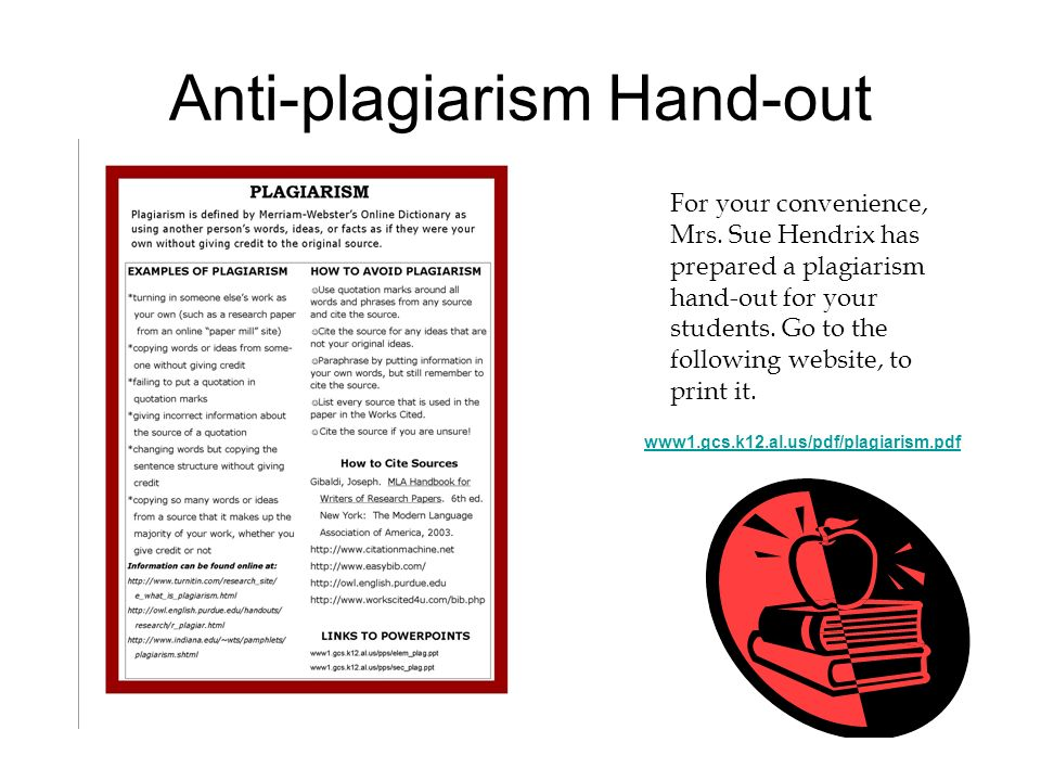 Anti-plagiarism Hand-out