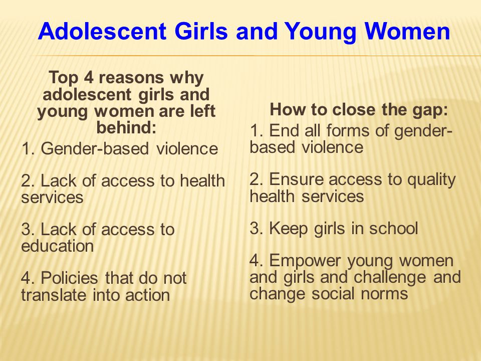 Adolescent Girls and Young Women