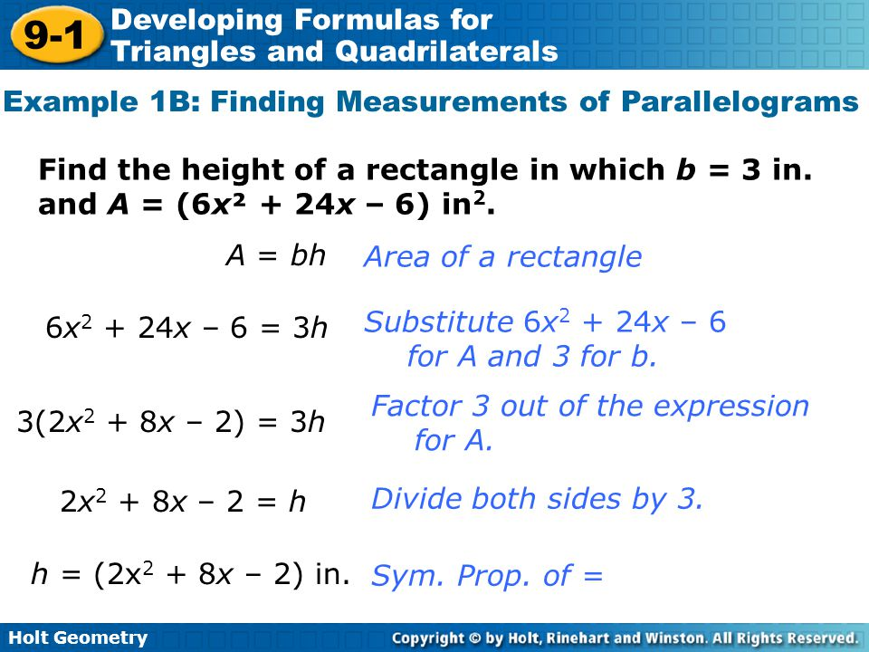 Example 1B: Finding Measurements of Parallelograms