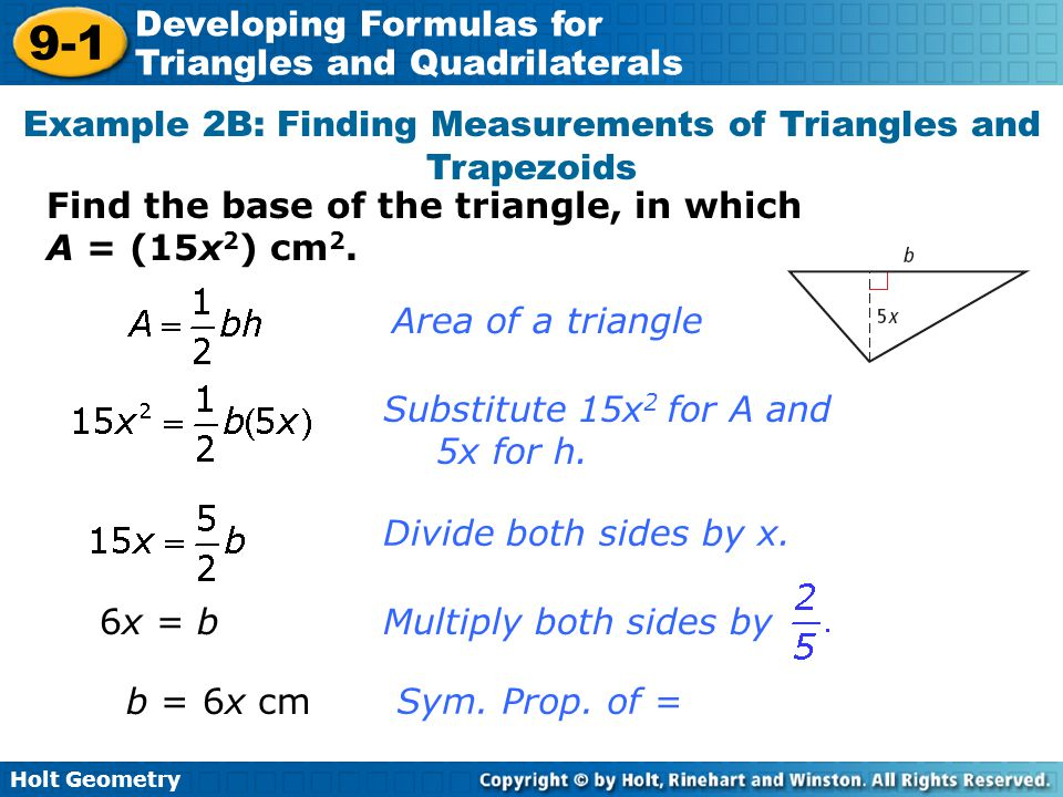 Example 2B: Finding Measurements of Triangles and Trapezoids