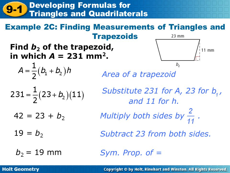 Example 2C: Finding Measurements of Triangles and Trapezoids
