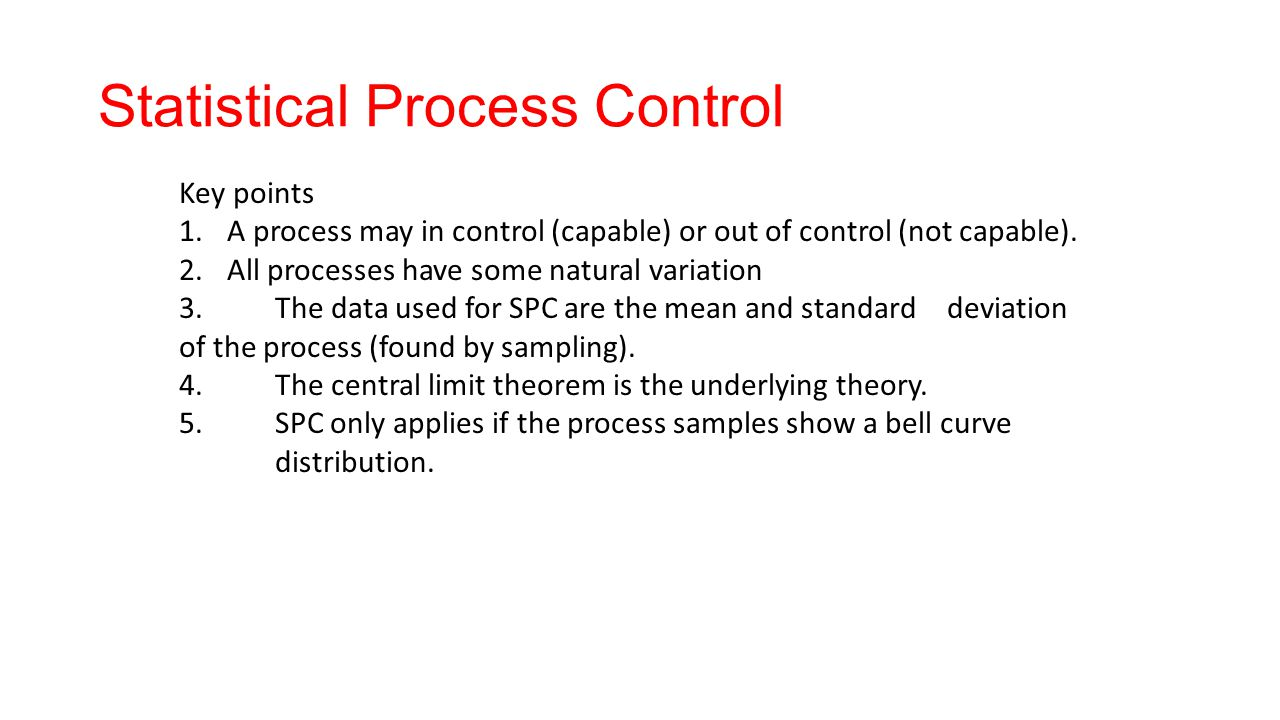 process capability and statistical process control essay Start studying operations management supplement 6: statistical process essay a process is being a process that has poor capability may be in control but.