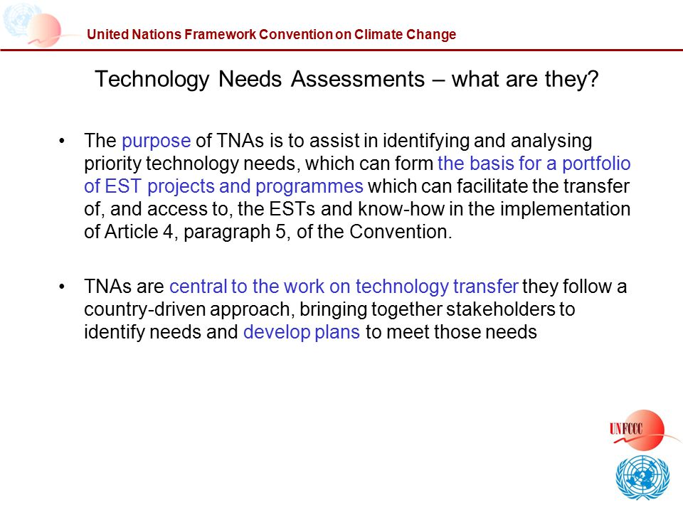 Technology Needs Assessments – what are they
