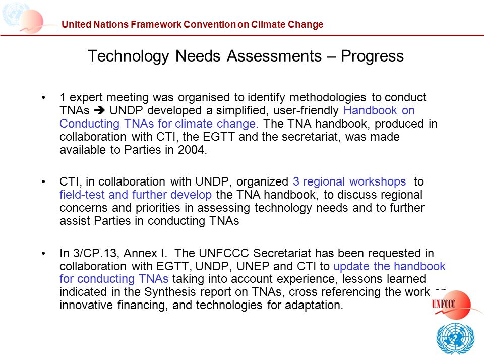 Technology Needs Assessments – Progress