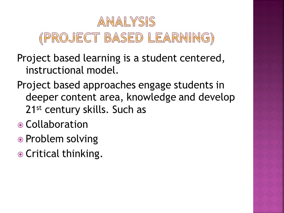 Analysis (project based learning)