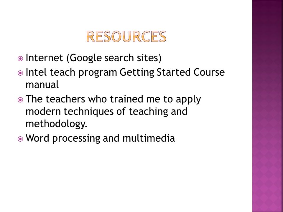 resources Internet (Google search sites)