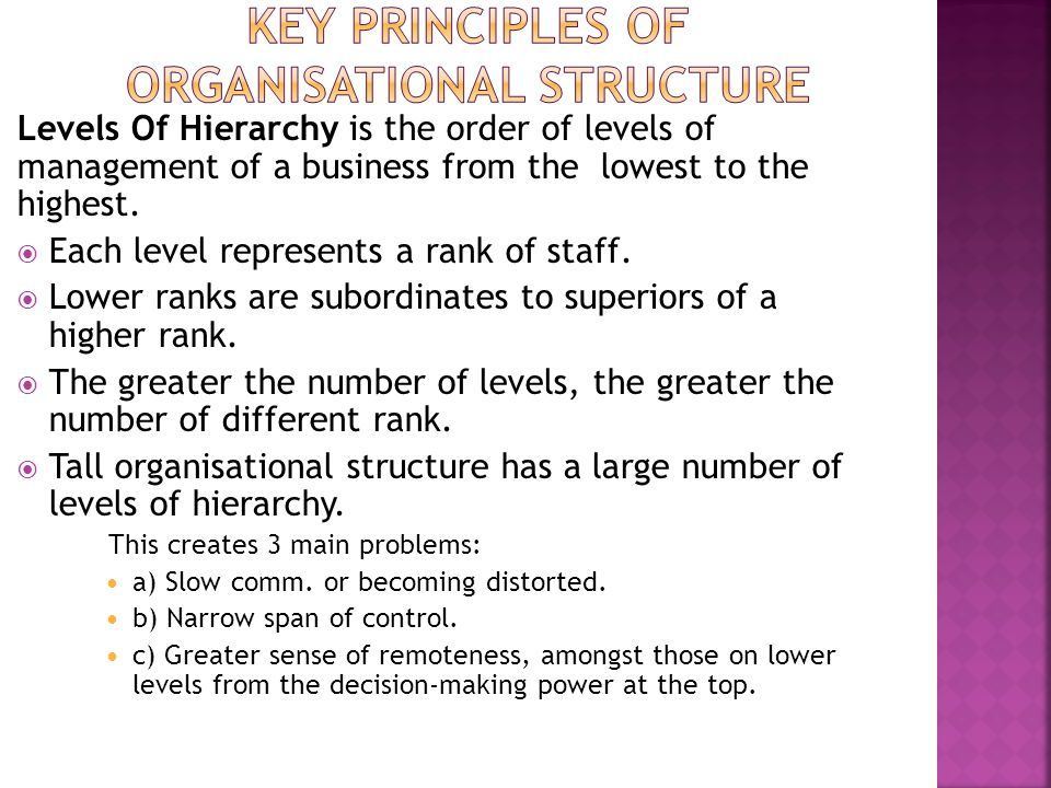 Key Principles Of Organisational Structure