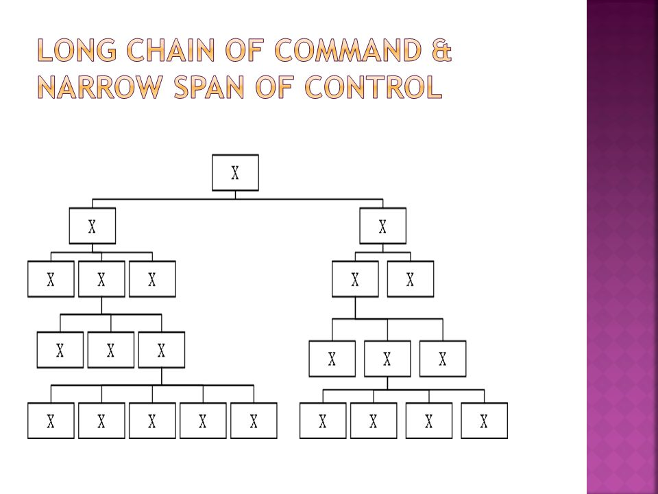 LONG Chain Of Command & NARROW span of control