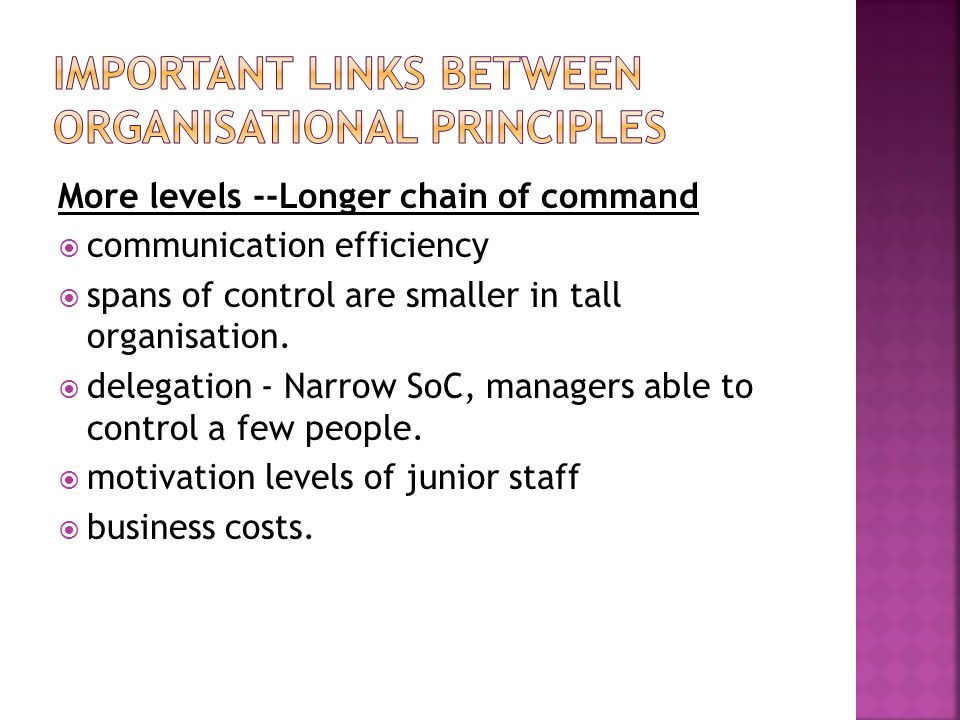 Important links between organisational principles