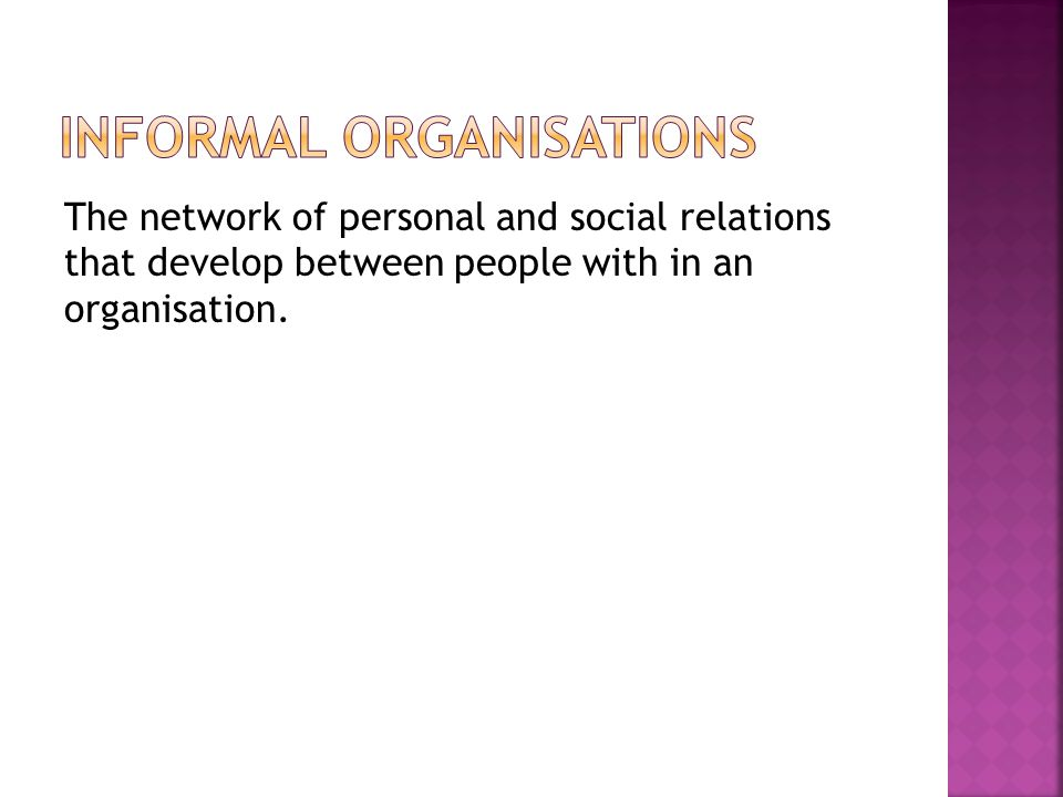 Informal organisations