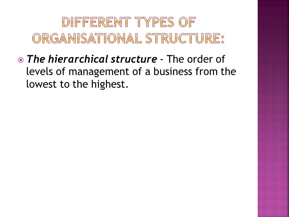Different types of organisational structure: