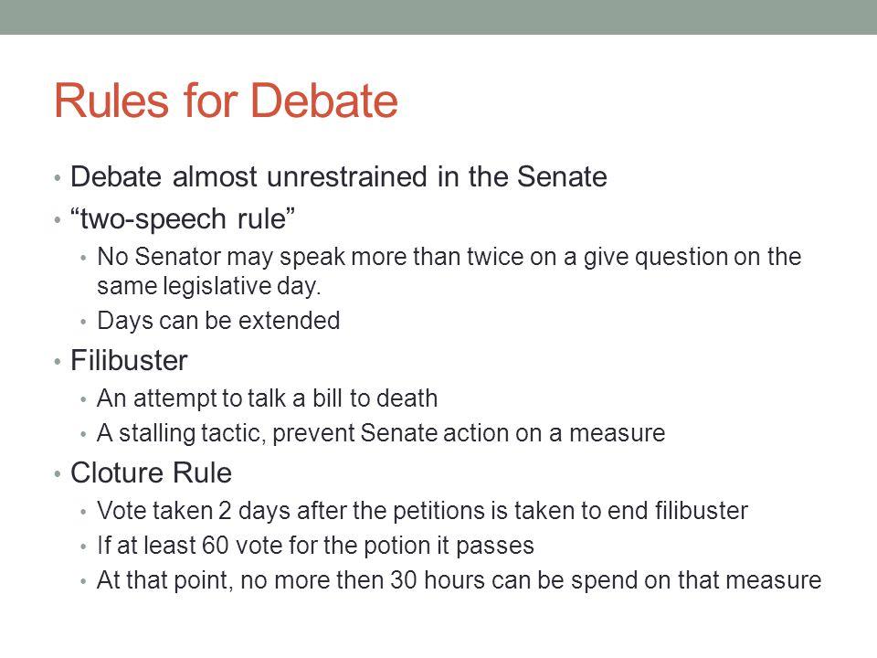 Rules for Debate Debate almost unrestrained in the Senate