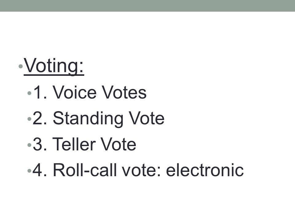 Voting: 1. Voice Votes 2. Standing Vote 3. Teller Vote