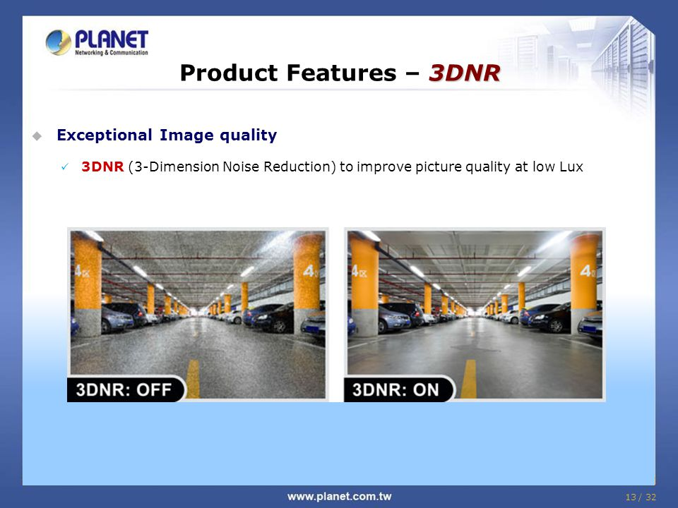 Product Features – 3DNR Exceptional Image quality