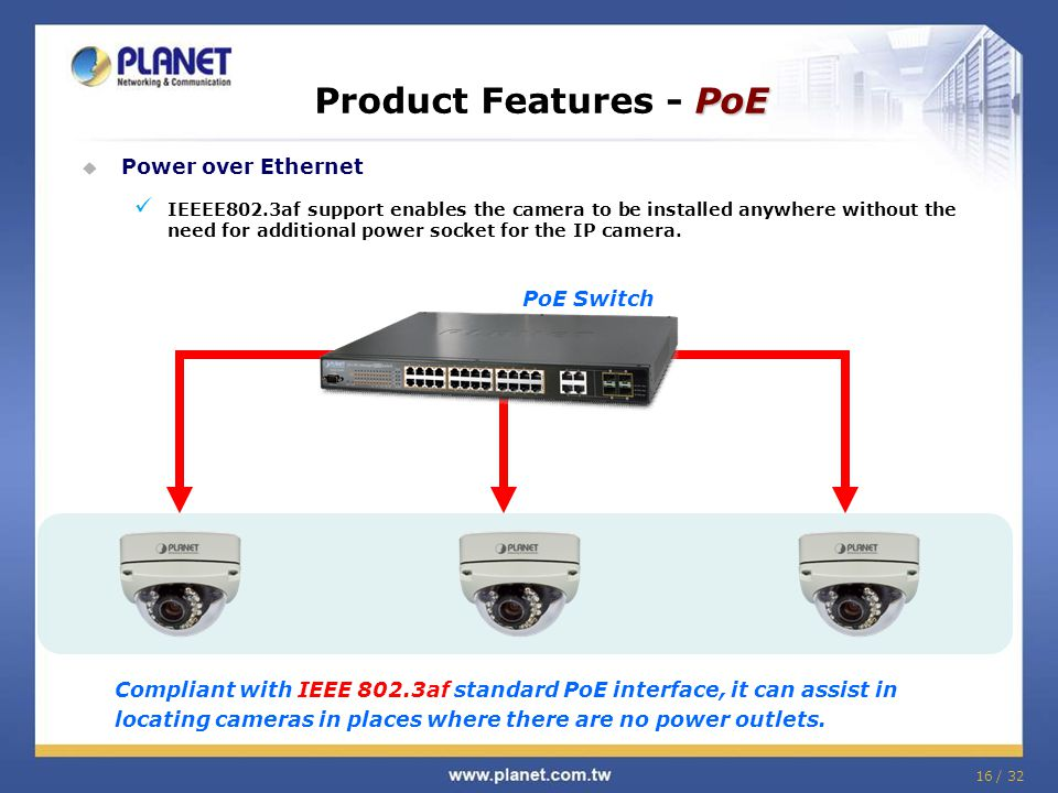 Product Features - PoE Power over Ethernet PoE Switch