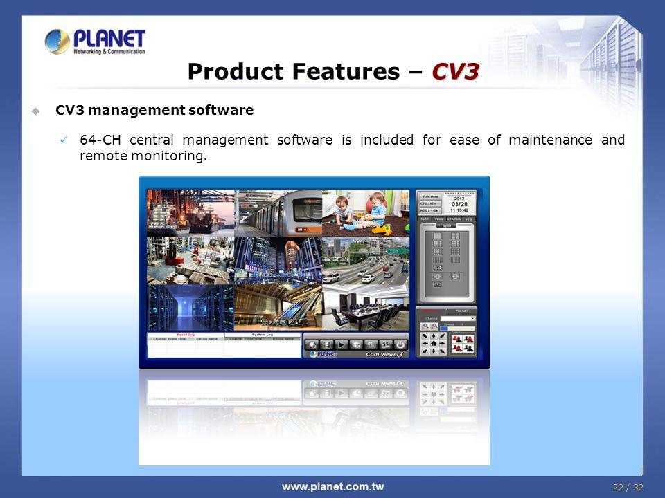 Product Features – CV3 CV3 management software