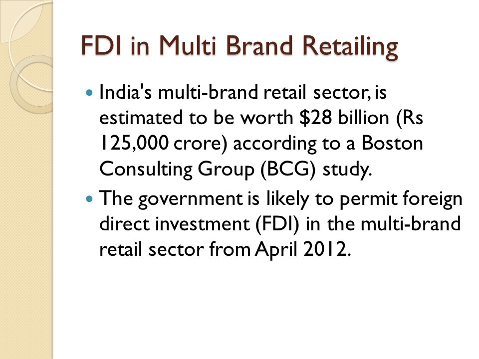 foreign direct investment in retail sector pdf