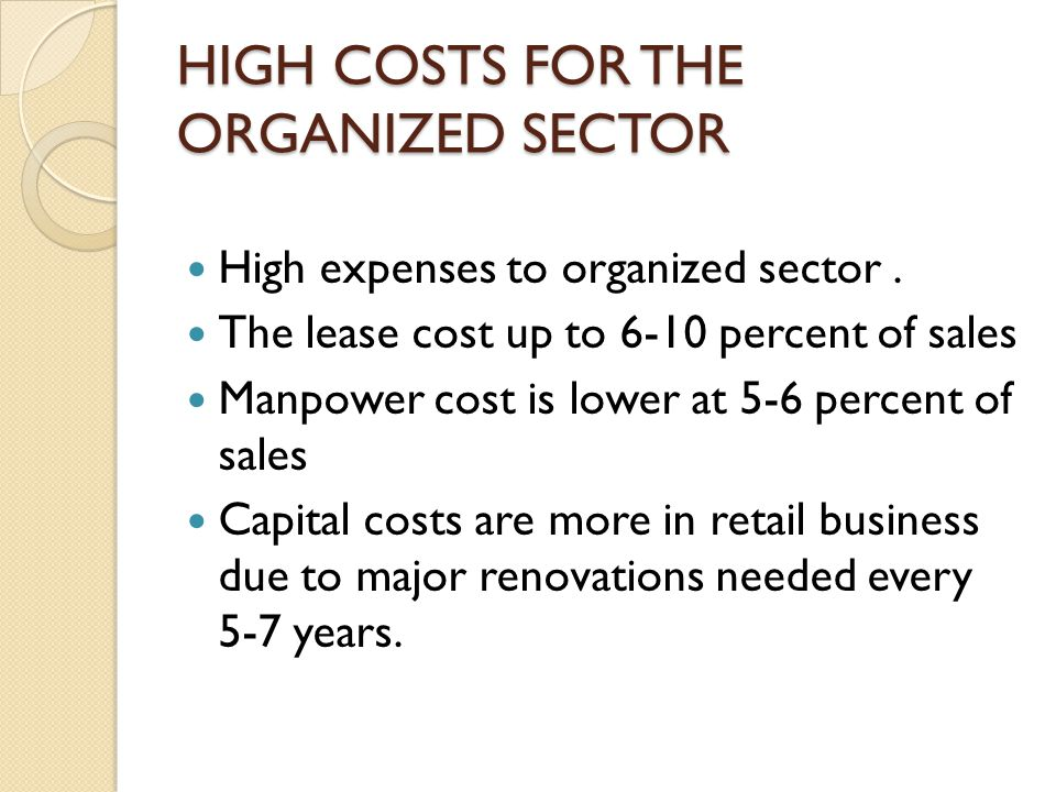 HIGH COSTS FOR THE ORGANIZED SECTOR