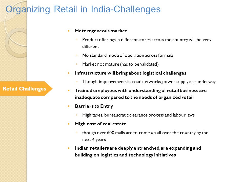 Organizing Retail in India-Challenges